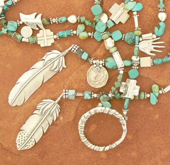 Turquoise and Feather Lariat Necklace