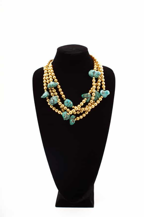 Coulee Creek Designs Gold Pearls and Turquoise Chunks
