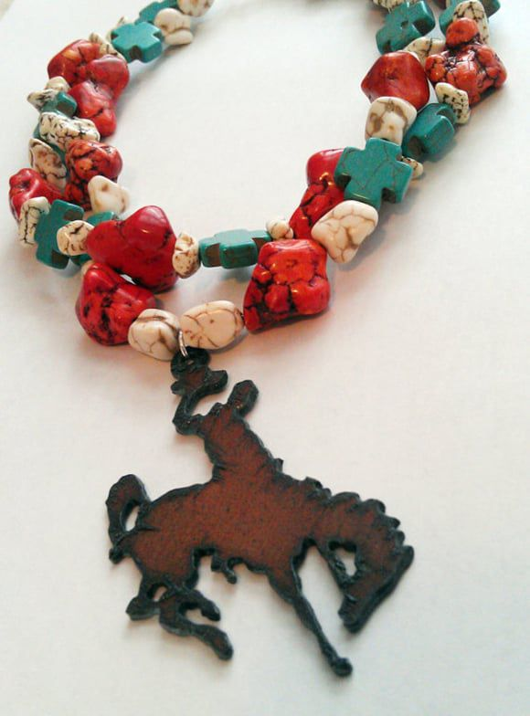 Silver Bit Jewelry Turquoise and Rustic Metal Bronco Rider Necklace