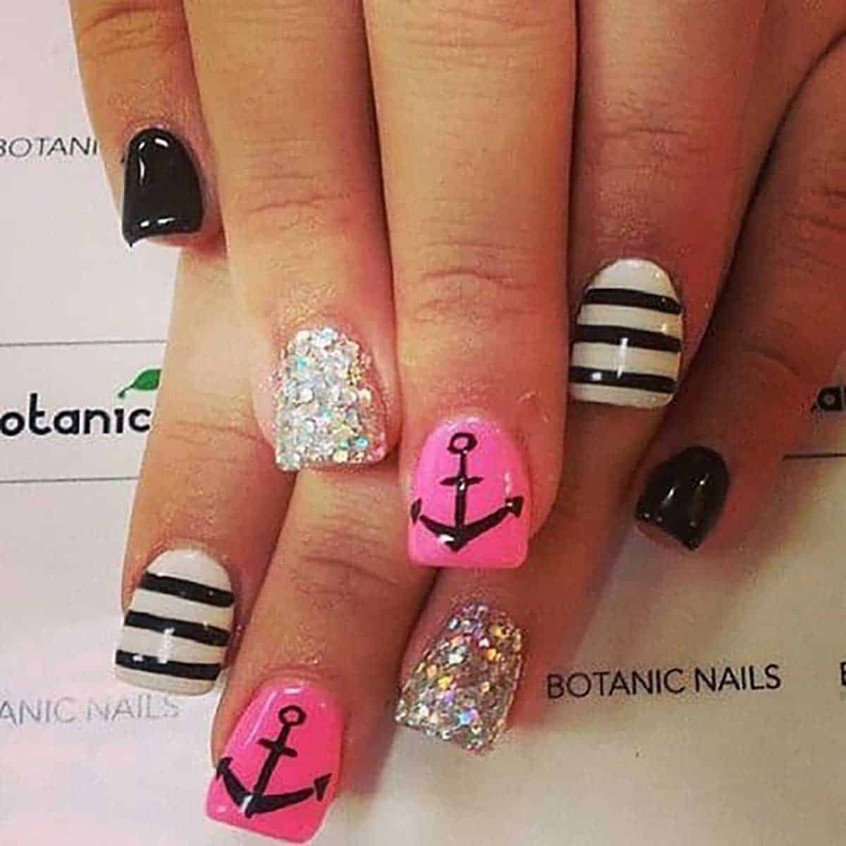 pink-black-nautical-nail-design