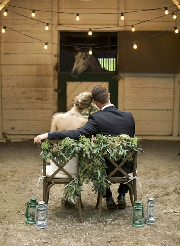 Newlywed couple at the stable