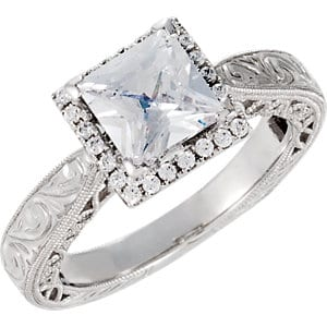 Simple Western Silver Engagement Ring