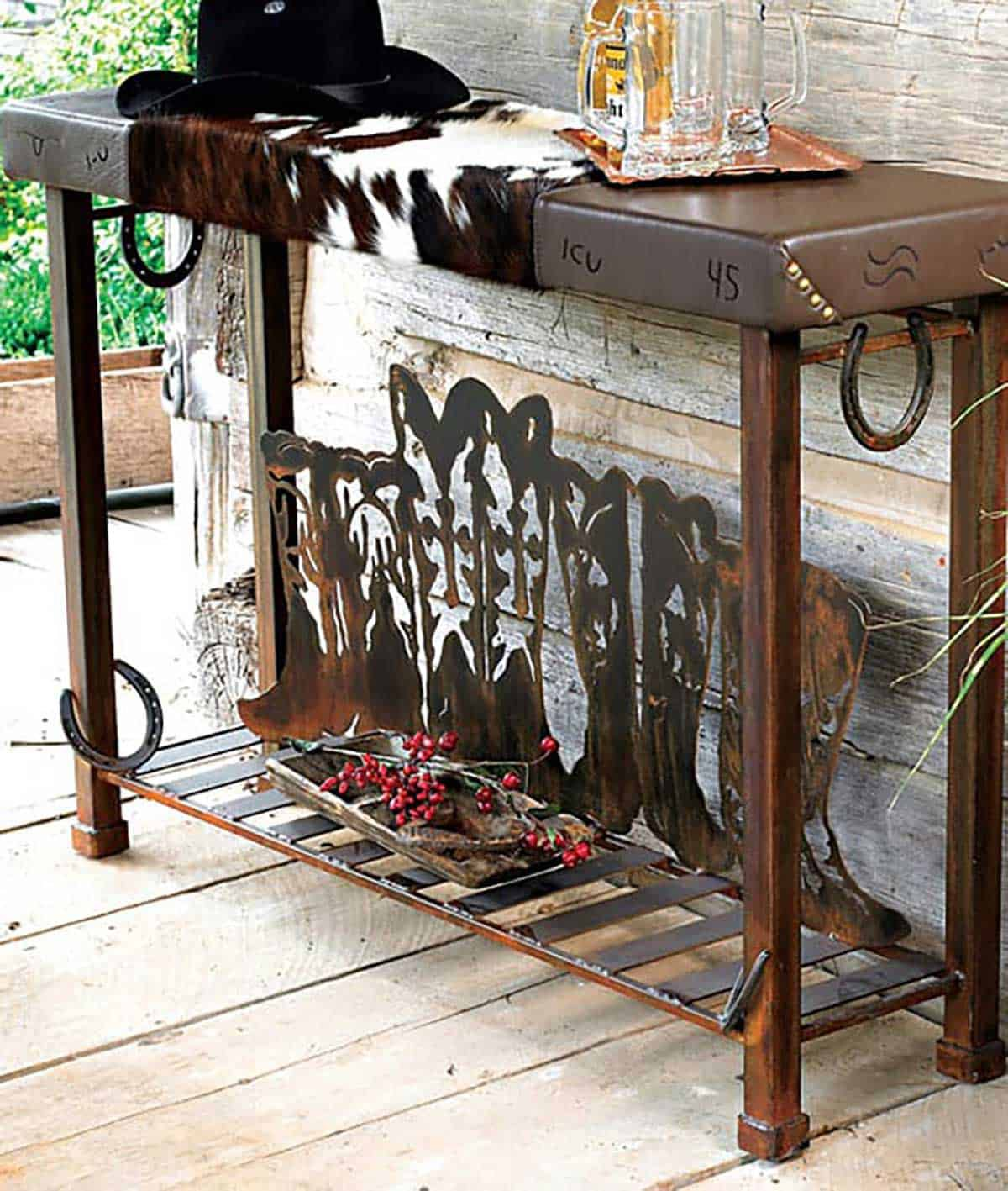Boot-Table-with-Cowhide-and-Horseshoe