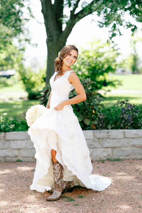 Brown Cowboy Boots With A Wedding Dress