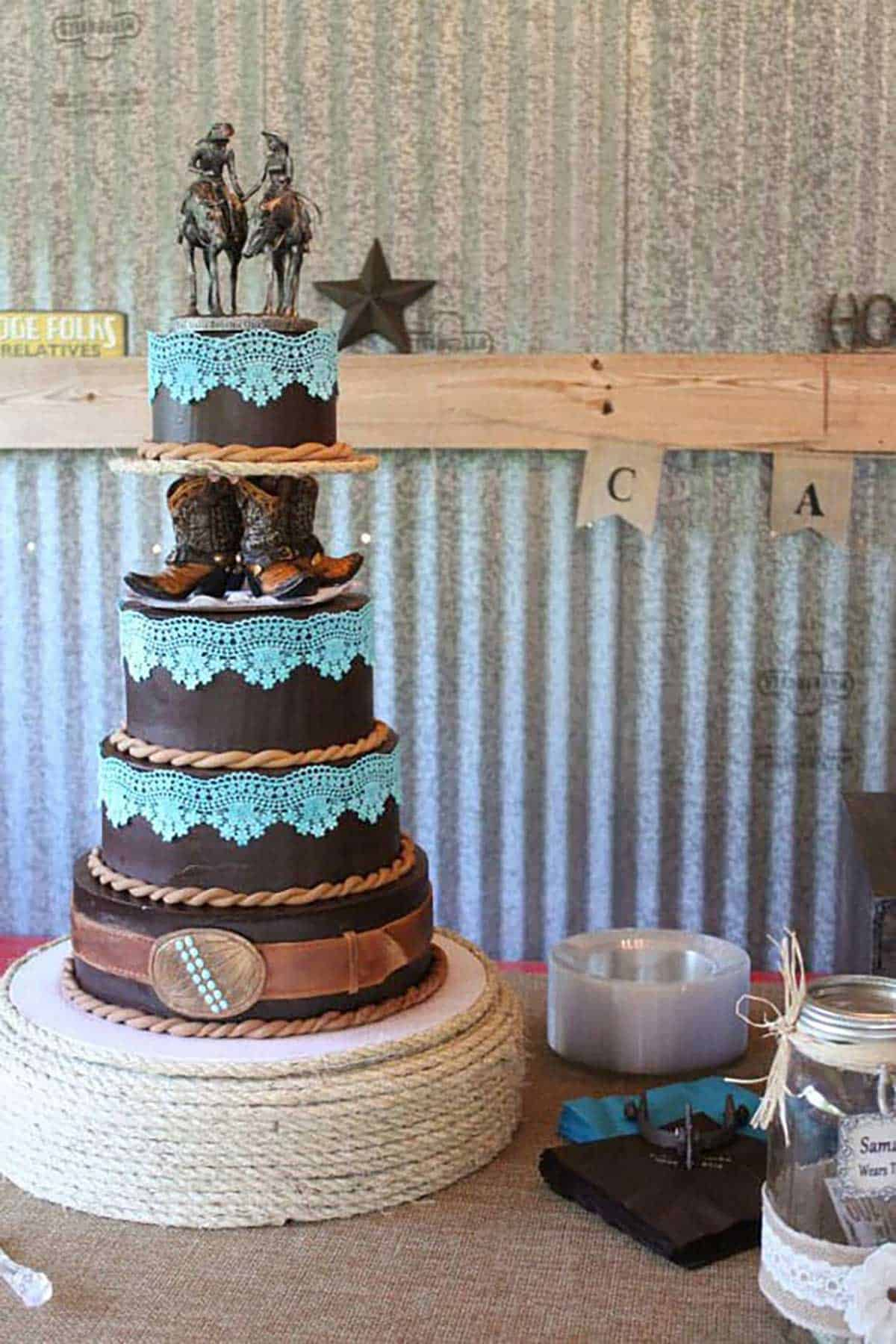 Brown-and-Turquoise-Western-Cake