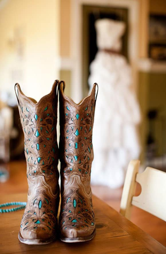 Brown and turquoise boots with a wedding dress