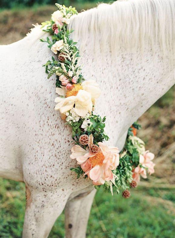 Flower wreath around the neck