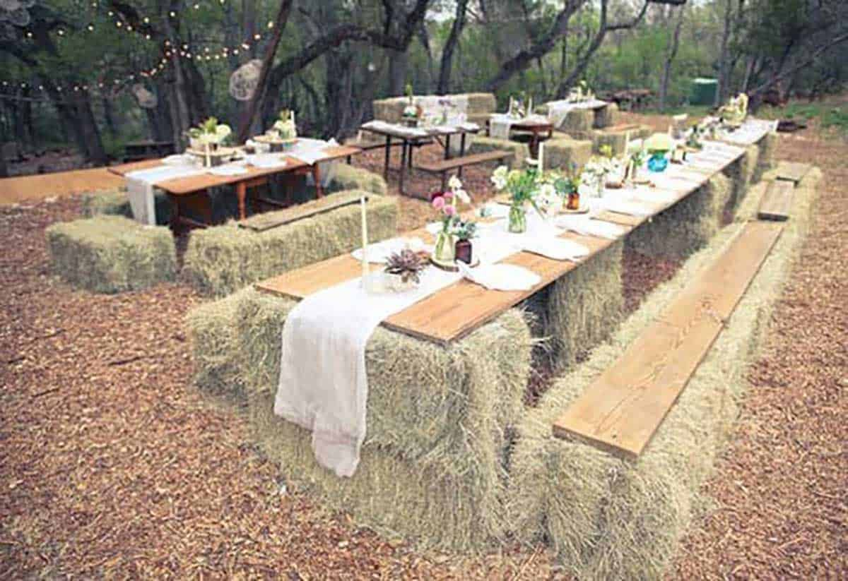 Hay-bale-tables