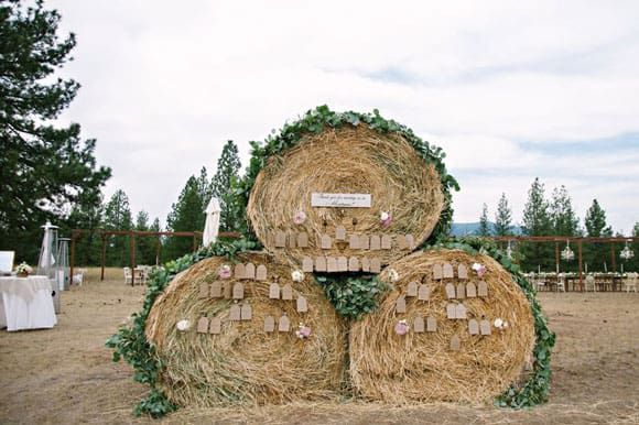 Round bale seating chart at a wedding