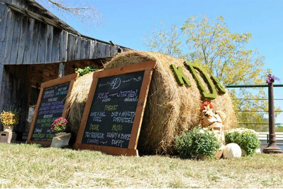 Hay bales being used for a rustic wedding