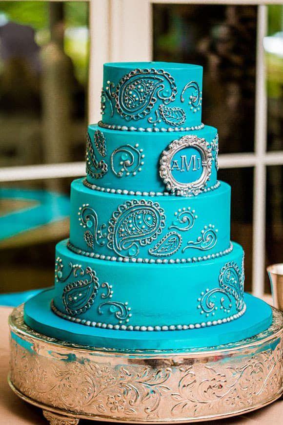 Turquoise Paisley Wedding Cake