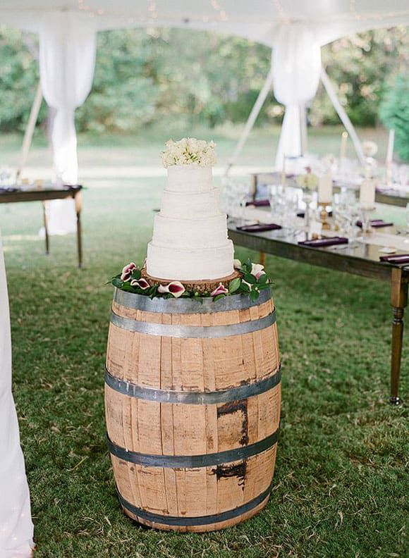 White cake on a wine barrel