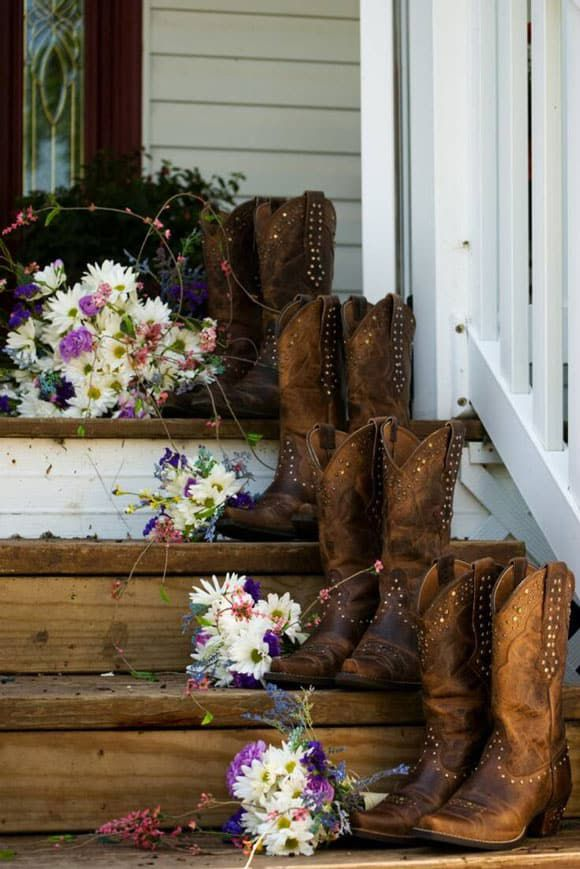 Brown boots and flowers