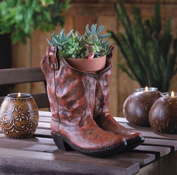Cowboy Boot Ceramic Planters
