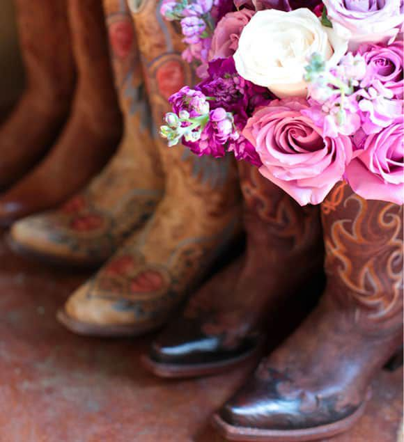 cowboy boots and purple flowers
