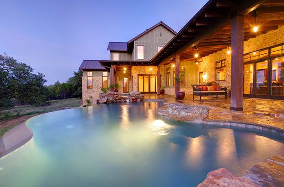 Infinity pool and rustic patio