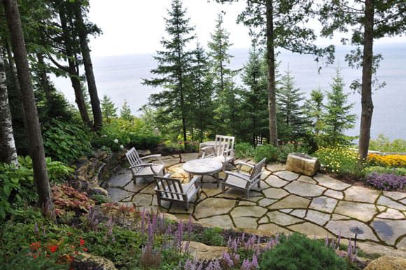 Patio with a lake view