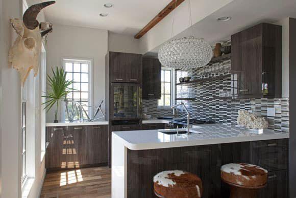 modern kitchen with cow skull