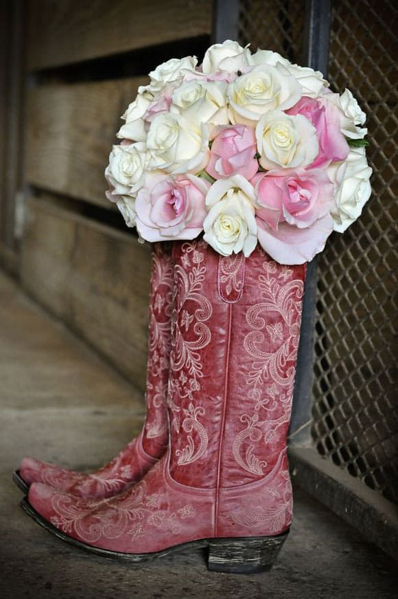 Red cowboy boots and roses