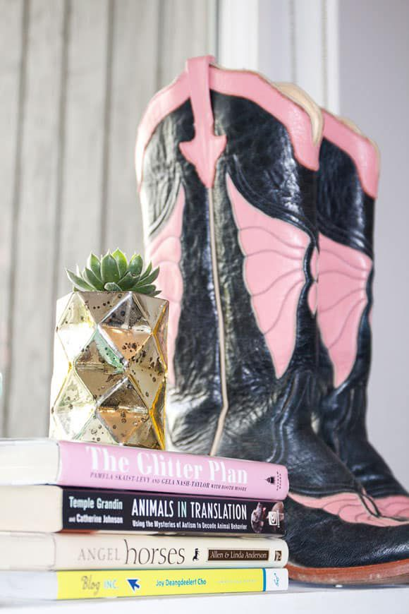 Succulents with Books and Cowboy Boots