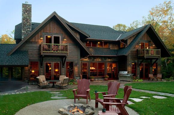 cabin and outdoor fireplace