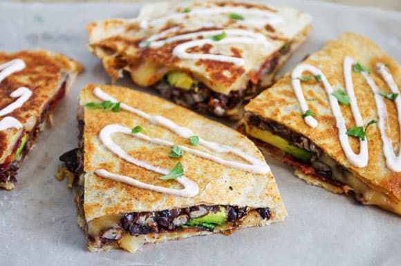 black bean and chipotle quesadillas