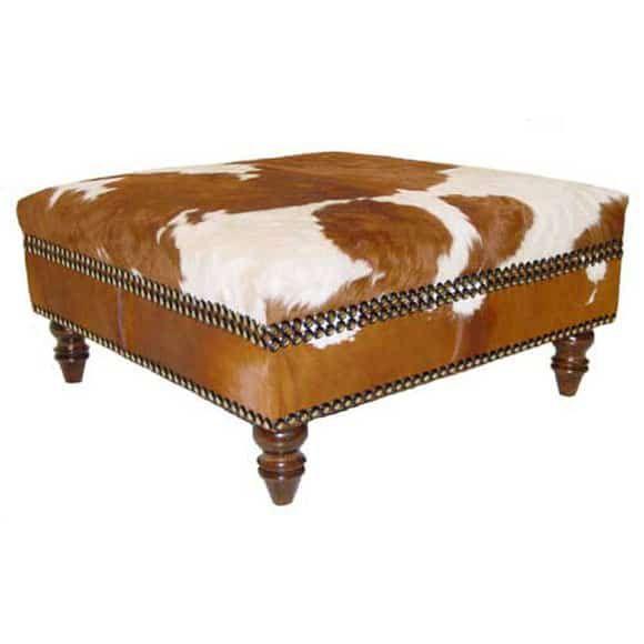 tan cowhide ottoman