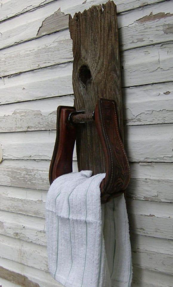 western stirrup towel rack