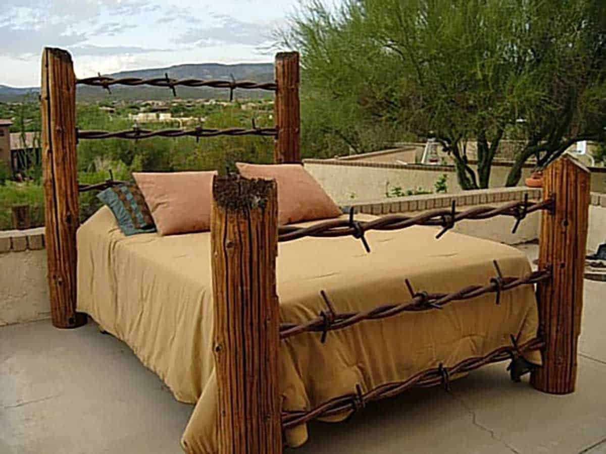 Barbed-Wire-Fence-Post-Bed-Frame