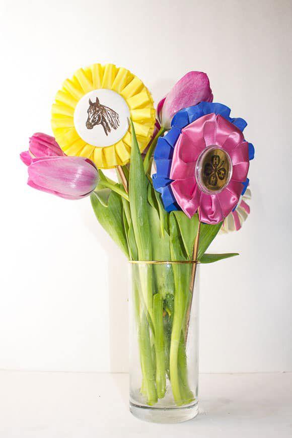 DIY floral ribbon arrangement