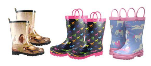 kids horse print rain boots