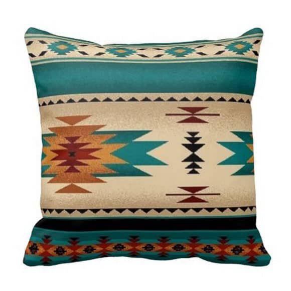 turquoise print pillow