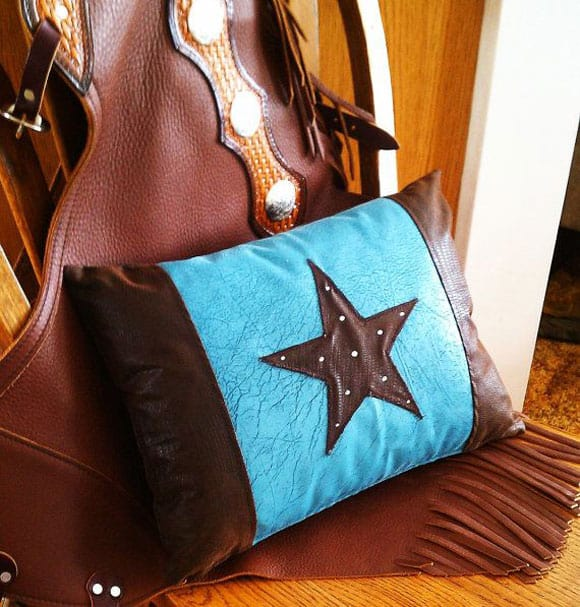 Turquoise and brown Star Pillow