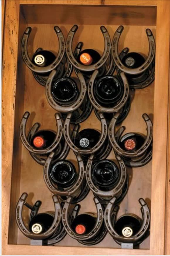 wine rack in the wall