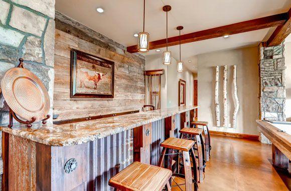 wooden rustic western bar