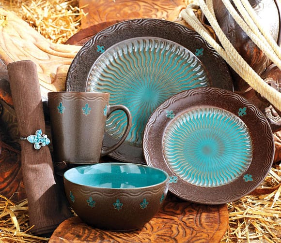 Brown and turquoise plate set : brown dinnerware - pezcame.com