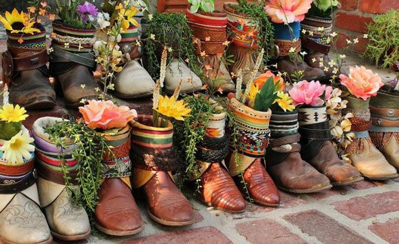 cowboy boot flower vases and planters