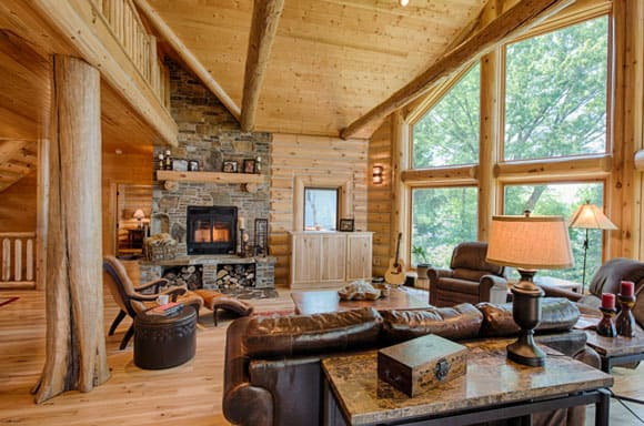 Light Wood Cabin Living Room