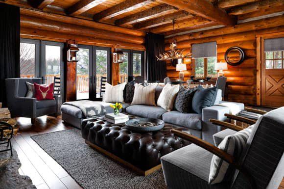 modern decor in a log cabin