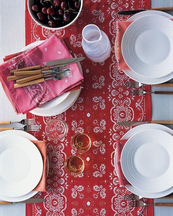 Red bandana table cloth