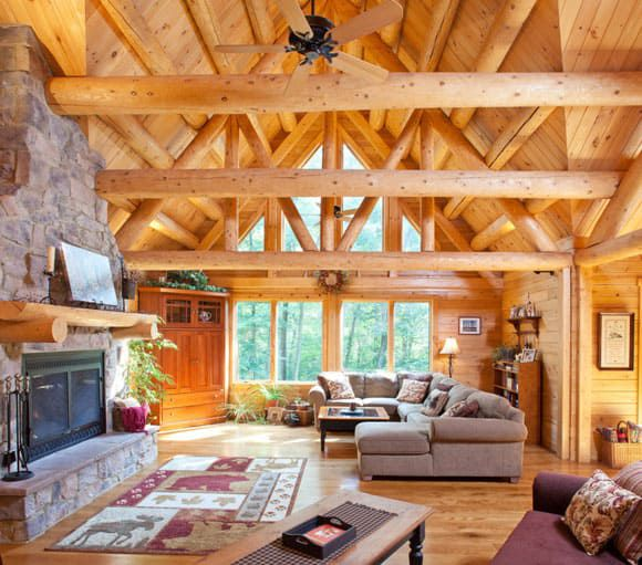 Tall ceilings and wooden beams