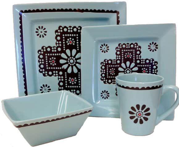 Turquoise Cross Plate Set