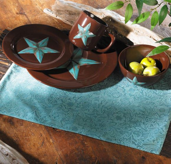 Turquoise Star Plate Set