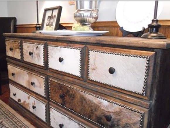 DIY cowhide dresser