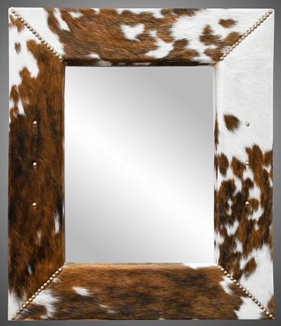 DIY cowhide mirror