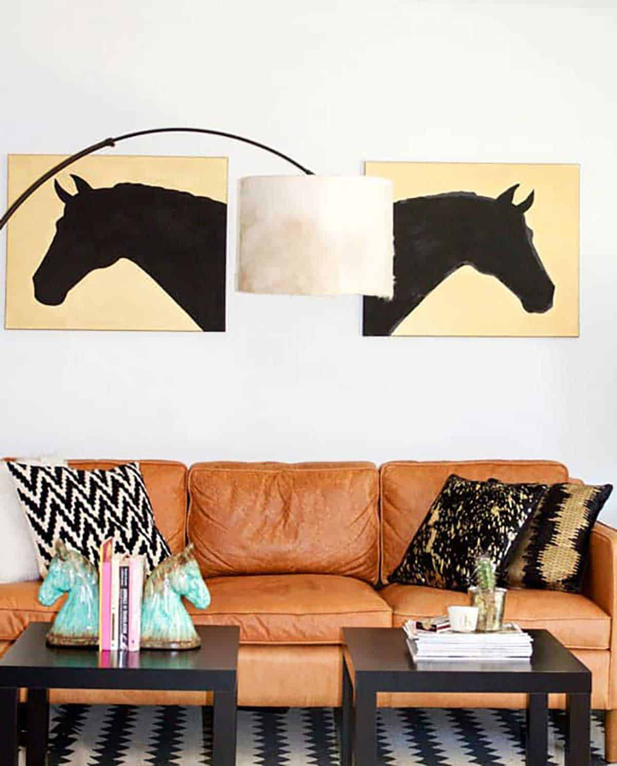 Modern-equestrian-living-room-with-a-DIY-drum-cowhide-lampshade