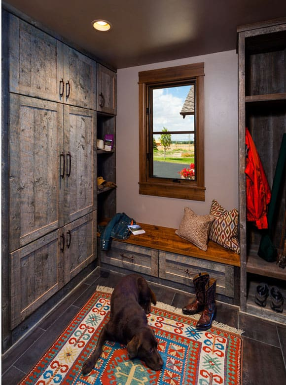 Rustic cabinets in the entryway