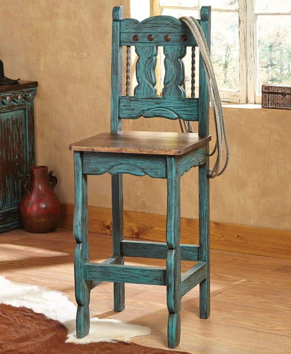Turquoise Santa Fe Barstool