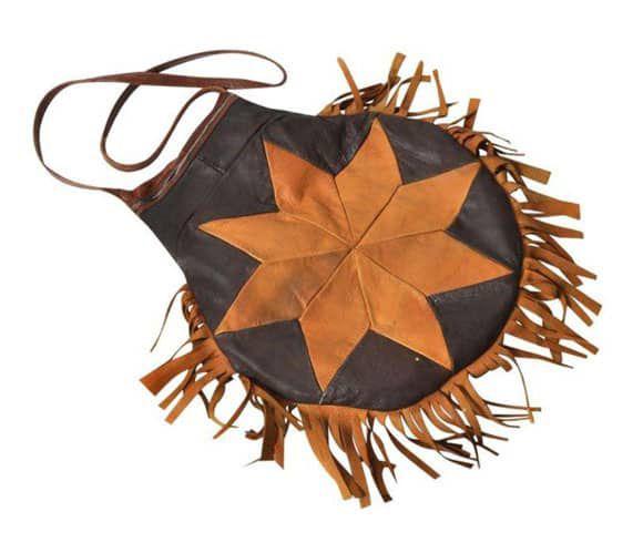 Vintage Brown Leather Sunburst Bag