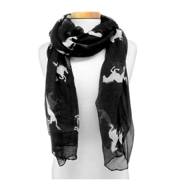Black and white horse print scarf